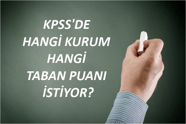Kurumların KPSS Taban Puanları