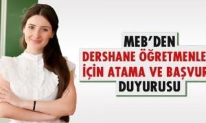 Dershane Öğretmenleri MEB'e Atama Duyusu Yayınlandı!